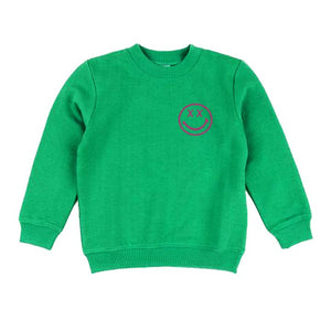 disco panda kids smiley sweatshirt in green & pink
