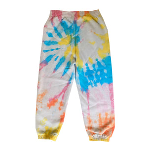 disco panda kids tie dye sweatpants in multi