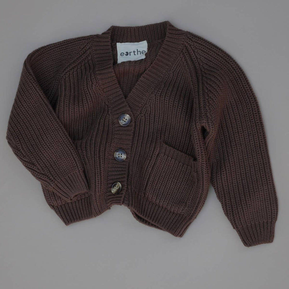 eorthe baby & kids chunky knit cardigan in chocolate