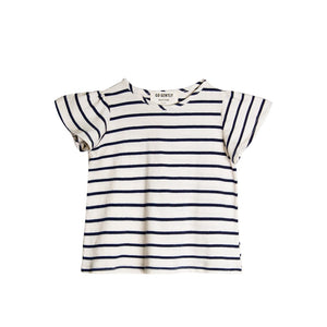 go gently nation flutter sleeve tee in navy stripe