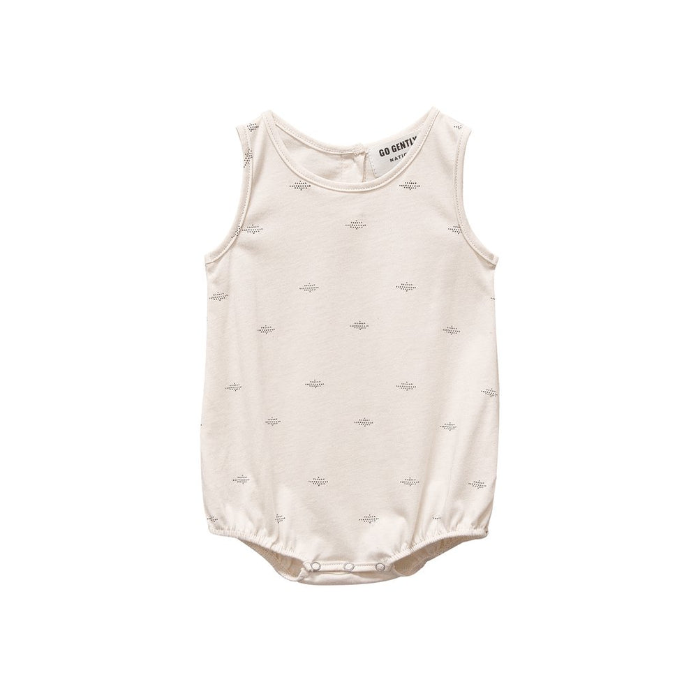 go gently nation printed jersey onesie in natural dot print