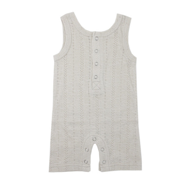 l'oved baby organic cotton pointelle sleeveless romper in stone