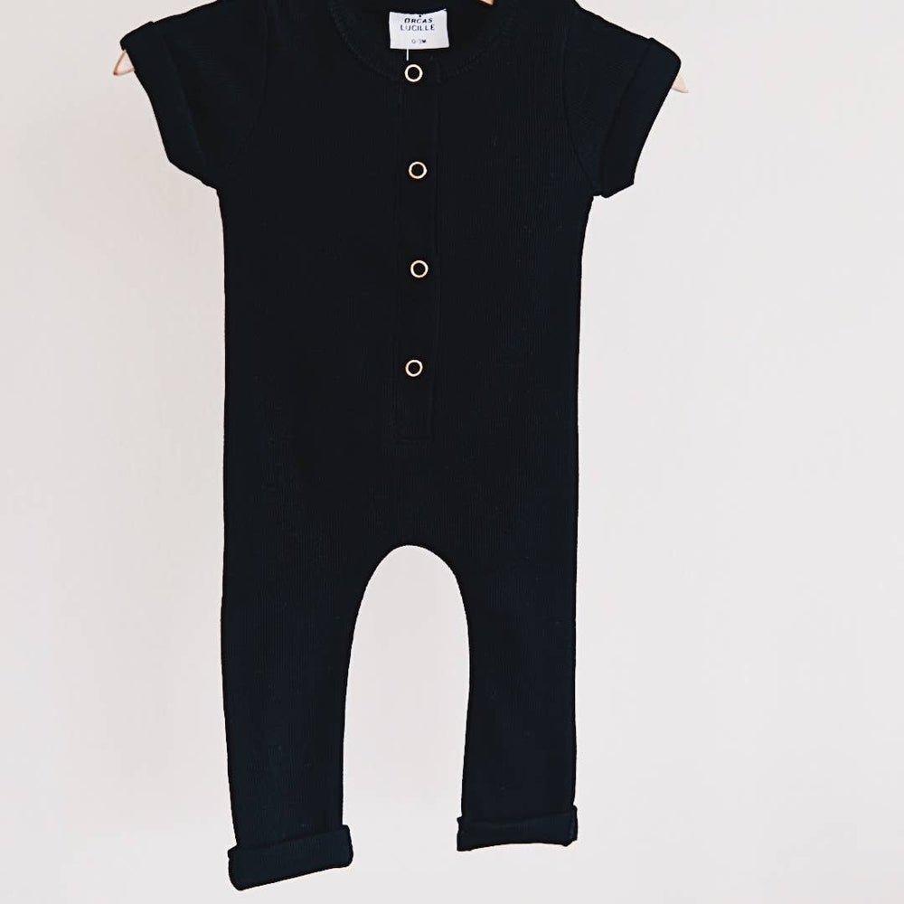 orcas lucille ribbed henley romper in black