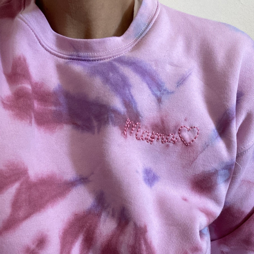 ef the label hand embroidered custom tie dye adult sweatshirt in multi