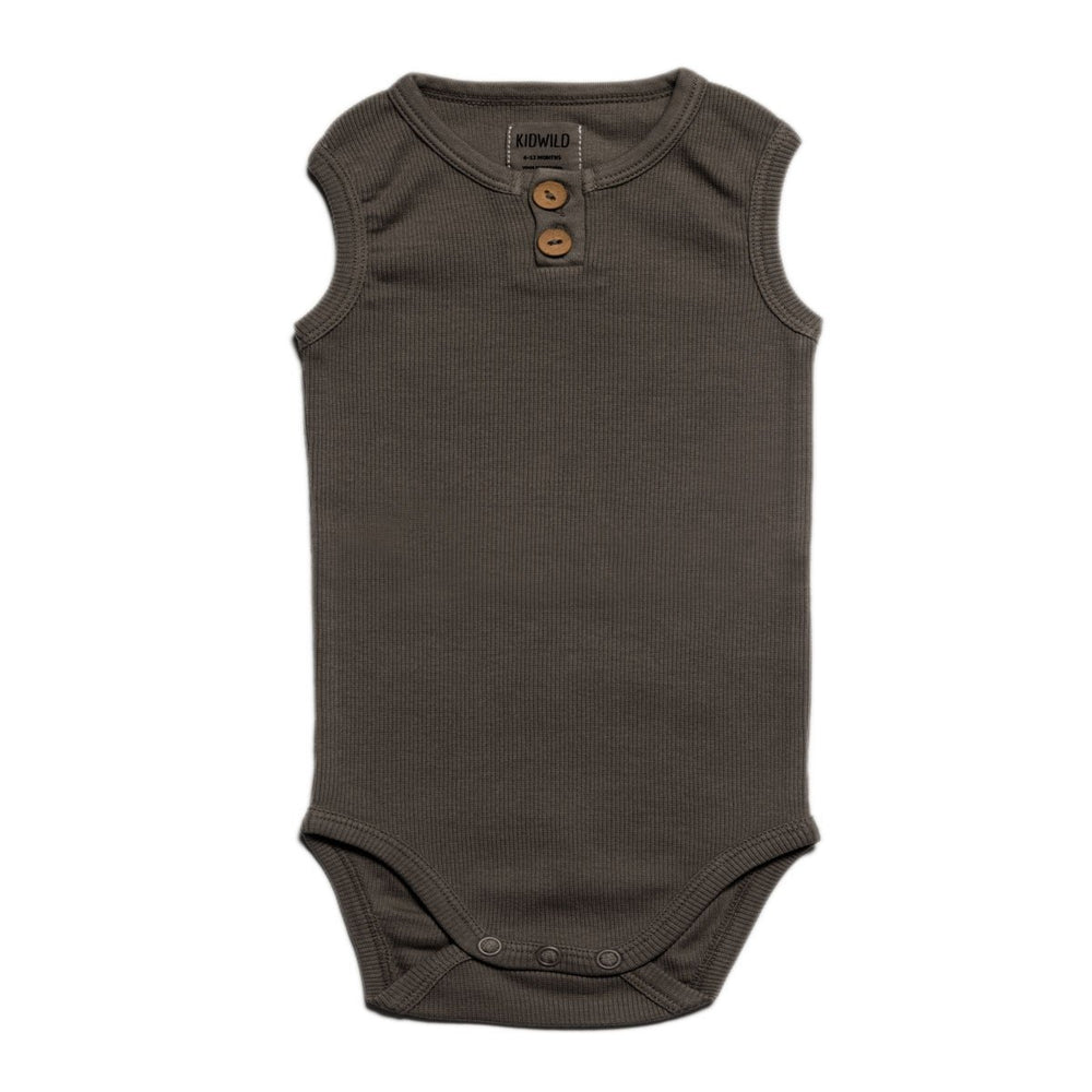 kid wild organic vintage sleeveless bodysuit in slate
