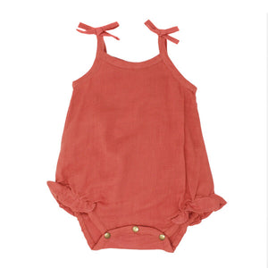 l'oved baby tie shoulder bodysuit in melon