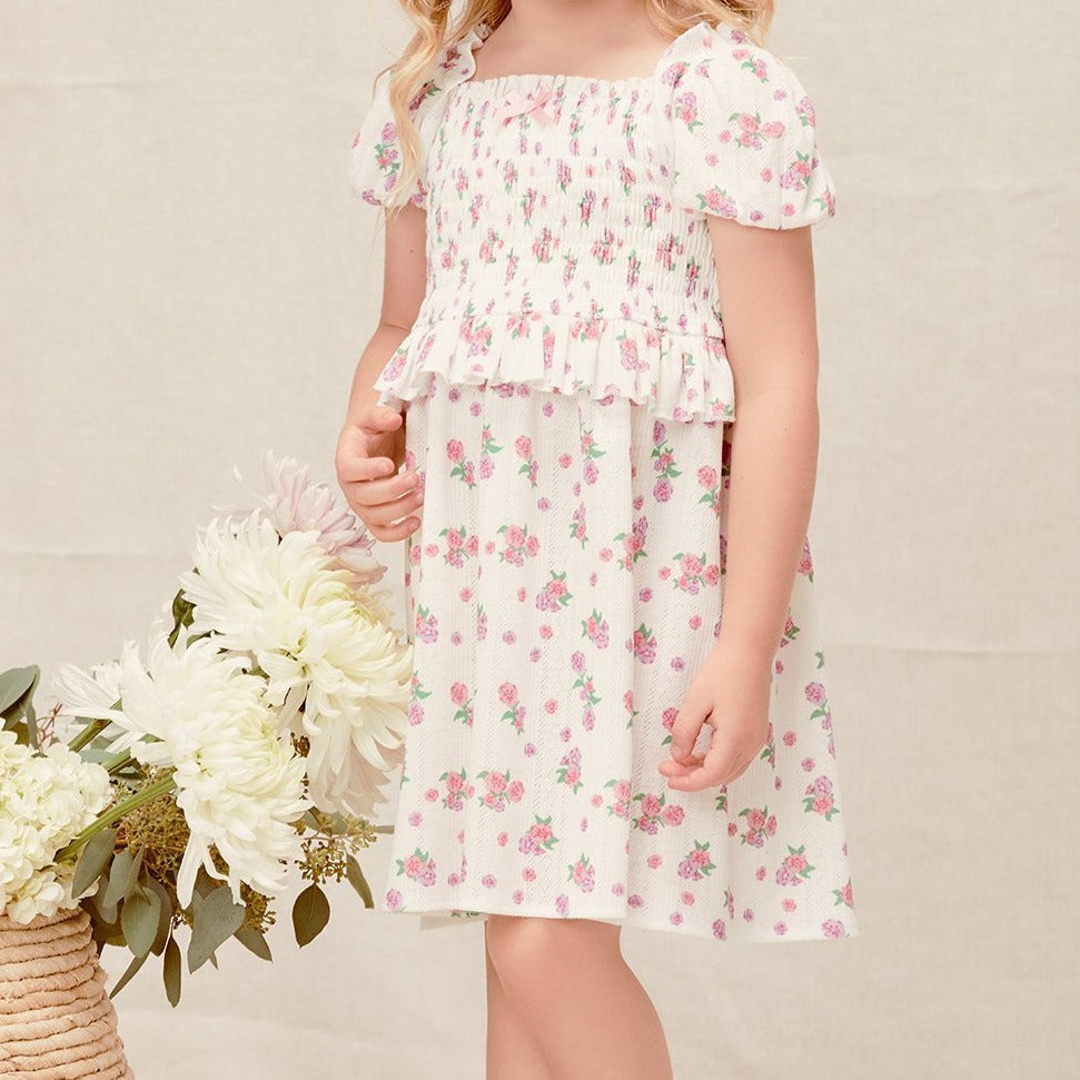 lil lemons pointelle smocked dress in white