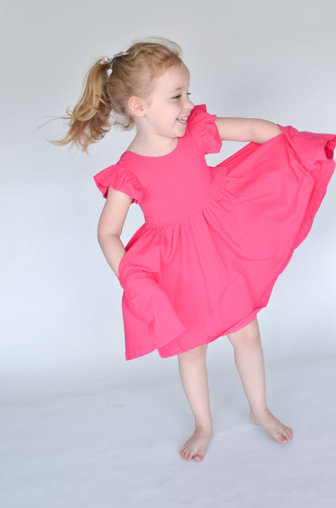 olliejay hot pink ruffle twirl dress