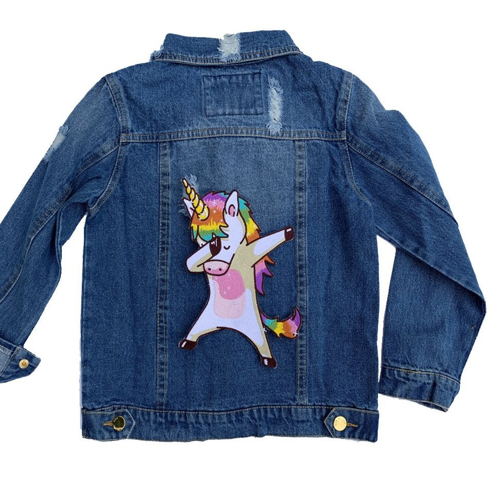 "patched by elle ""girl power"" denim jacket"