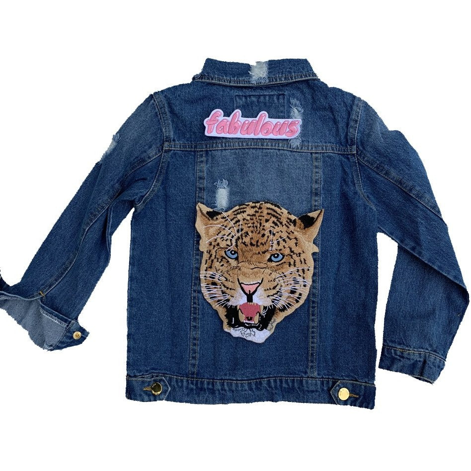 "patched by elle ""wild thang"" denim jacket"