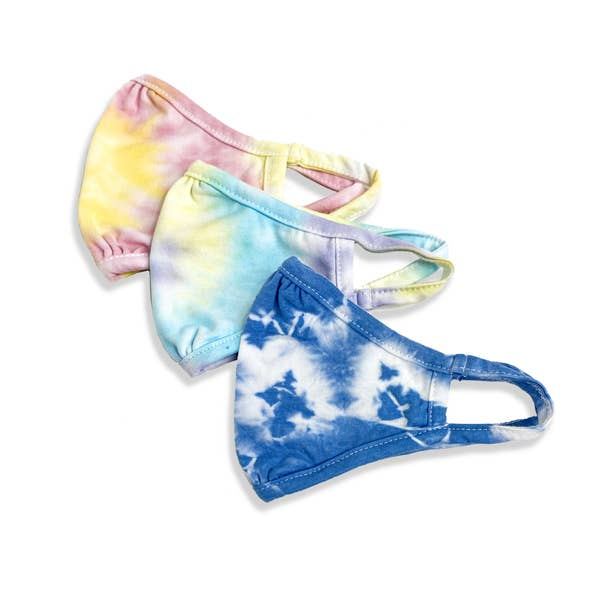 port 213 kids organic cotton face mask in pink & yellow tie dye