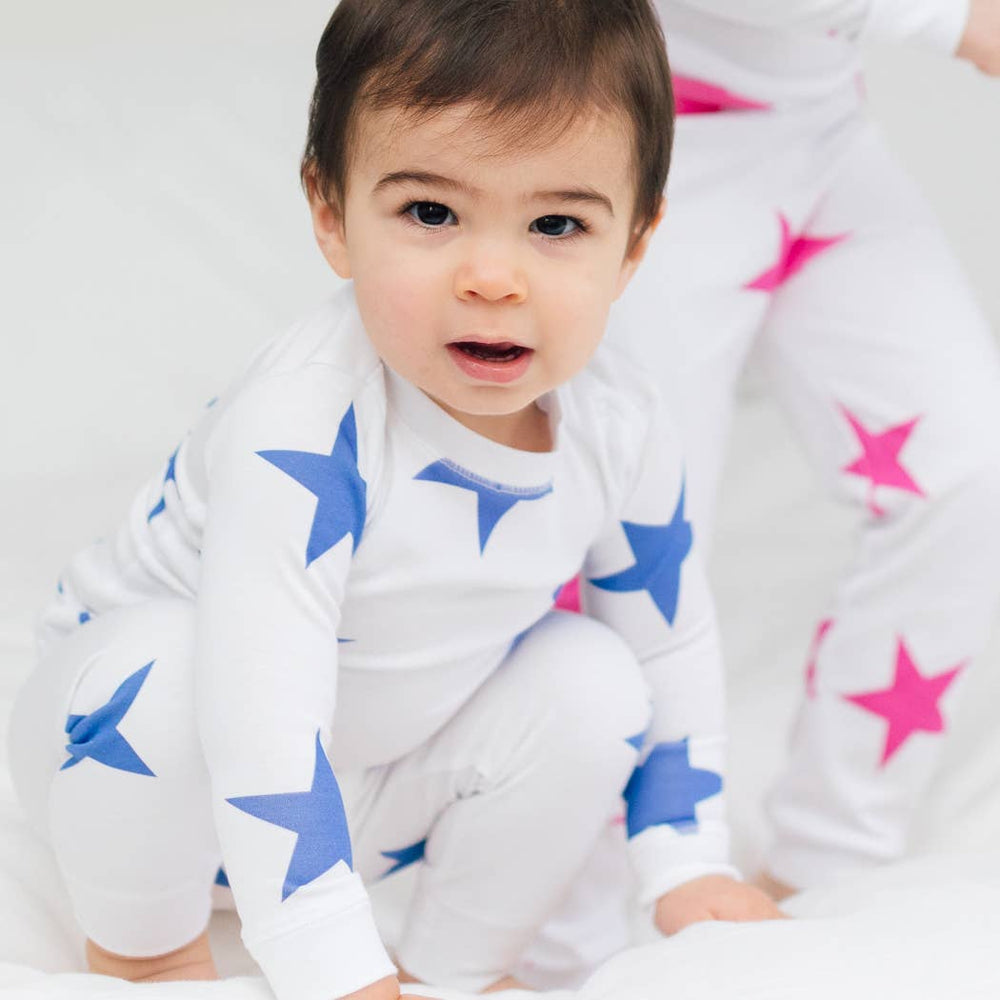 sammy + nat signature bold star pima pajama set in blue