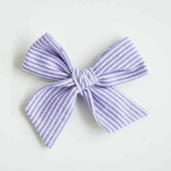 wanderlust and mayhem lavender seersucker bow