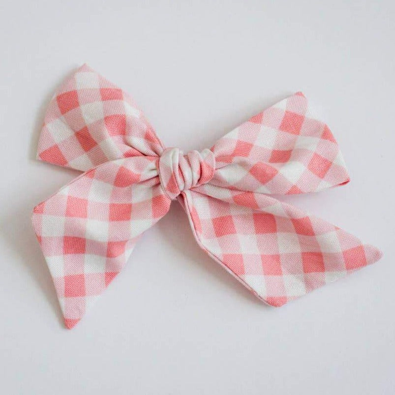 wanderlust and mayhem pink gingham hair bow headband