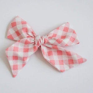 wanderlust and mayhem pink gingham hair bow clip