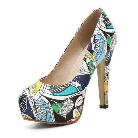 4bed4b2994c Retro High Heels Party Shoes Faux Pull Evening Pumps Slip On