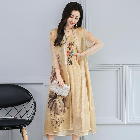 Women s Vintage Ethnic Style Long Dress Embroidered Vest Shawl Two Piece  Dress 36b5f9419213