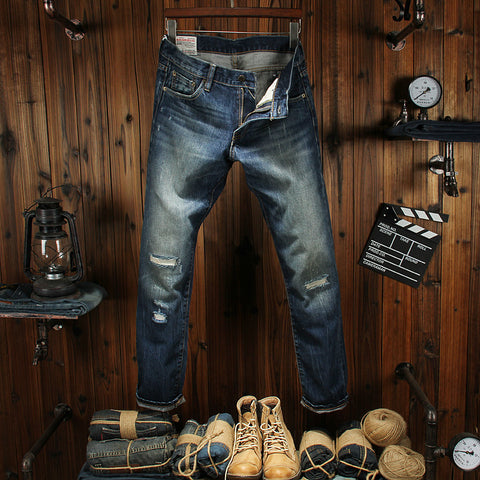 e47376e5adf4d Denim Classic Frayed Hole Ripped High Quality Straight Fit Washed Stripe  Jeans Men