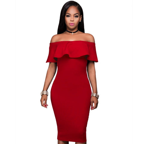 572a25a436 Sexy Slash Neck Package Hip Strapless Ruffled Dress
