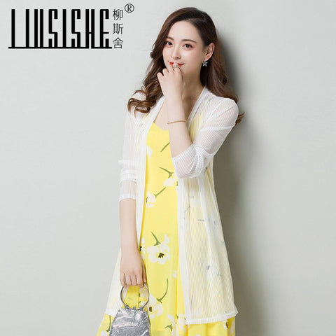 4e04e4a20aa Air Conditioning Sweater Knit Cardigan Thin Medium Long Leaf Printed Jacket  Hollowed Ice Silk Sunscreen.