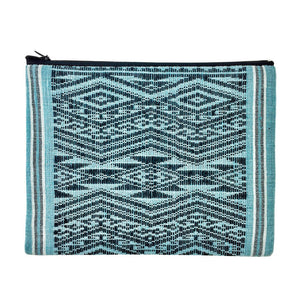 Teal Lao Mulberry Tessellation Clutch