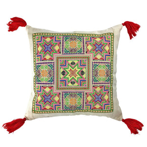 Handwoven and Embroidered  Boho Thai Pillow Cover