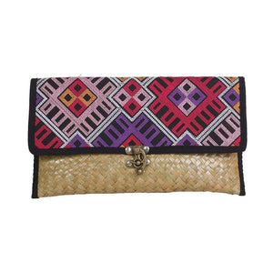 Woven Rattan Mod Embroidered Hmong Clutch