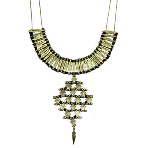 Ornate Metal and Cotton Indian Diamond Necklace