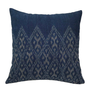 Lao Hand-dyed Indigo Partial Print Pillow Cover