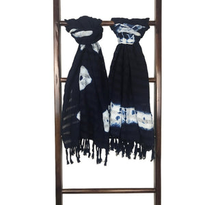 Salvadorian Traditional Indigo Tie-Dyed Scarf