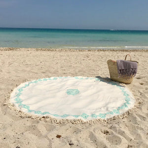 Black Block Print Round Turkish Beach Blanket