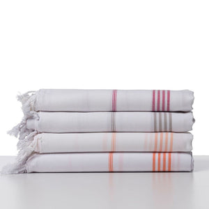 Peach Striped Turkish Towel