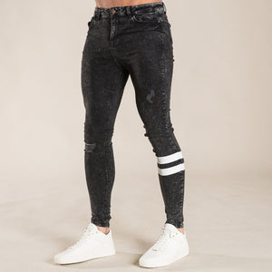 White Tape Stretch Jeans