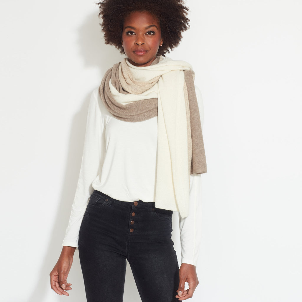 Cable Stitch Color Block Cashmere Wrap