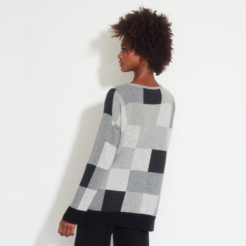 Color Block Cashmere Pullover