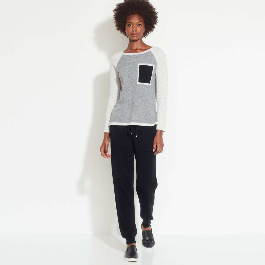 Color Block Pocket Cashmere Pullover