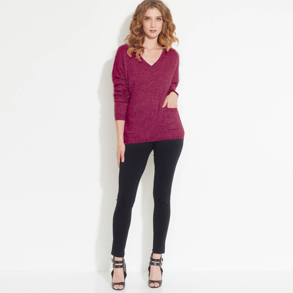 V Neck Cashmere Sweater with Front Pockets