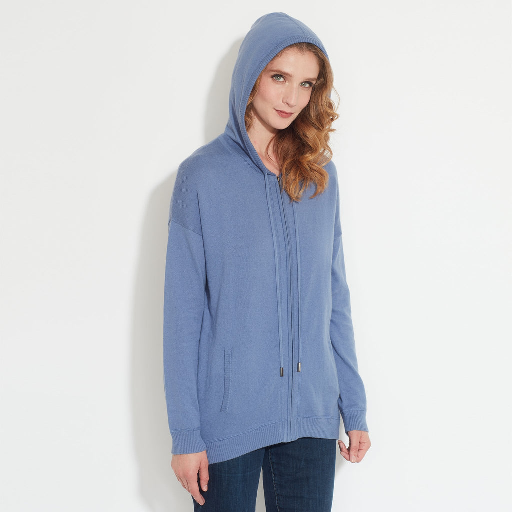 Zip Up Cotton/Cashmere Blend Hoodie