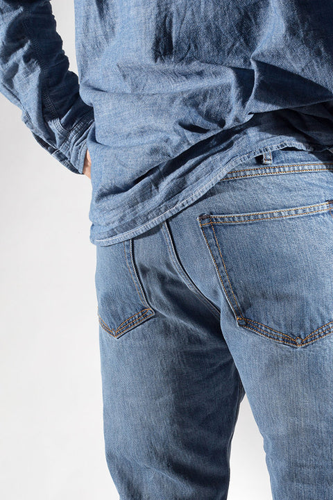 back pocket view of ravin zero cotton jeans in indigo 123 days finish by redew