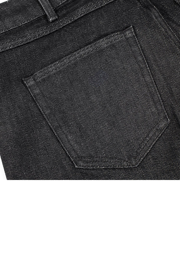 back pocket detail on a pair of bjork jeans by redew in black implode finish