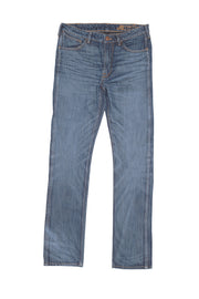 flat view of ravin zero cotton jeans in indigo 123 days finish by redew