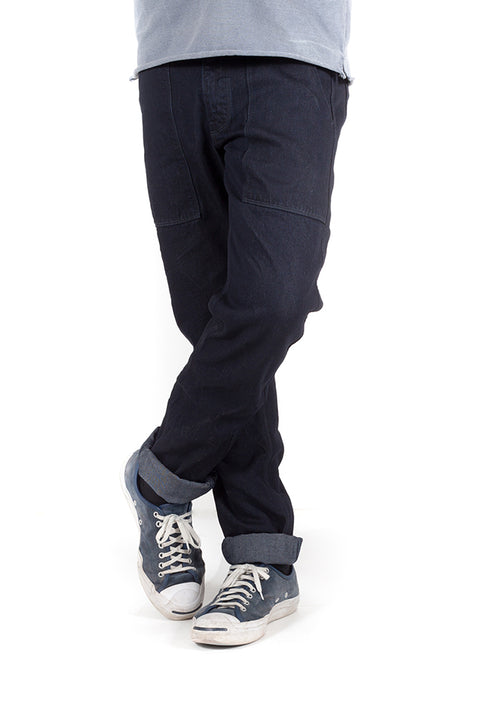 front view of utility zero cotton jeans in indigo finish by redew