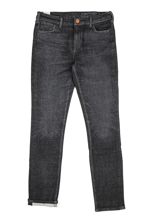 orn jeans by redew in black implode finish
