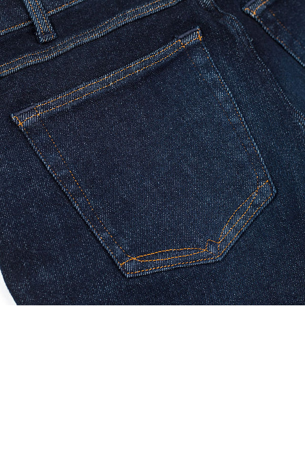 back pocket detail on a pair of orn jeans by redew in indigo implode finish
