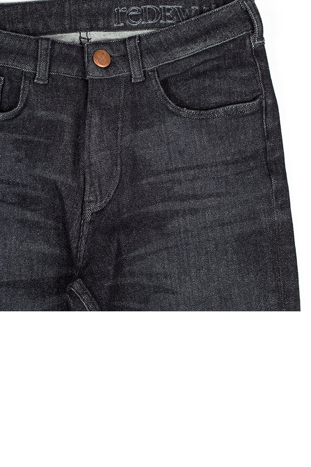 inseam of a pair of rak jeans by redew in black implode finish