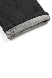 rolled cuff on a pair of ravin jeans by redew in black pre-shrunk finish