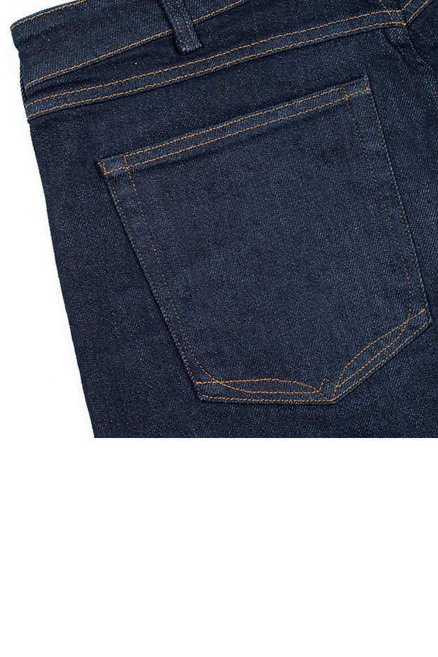 back pocket detail on a pair of ravin jeans by redew in indigo implode finish