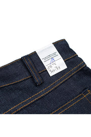 size detail on a pair of ravin jeans by redew in indigo pre-shrunk finish