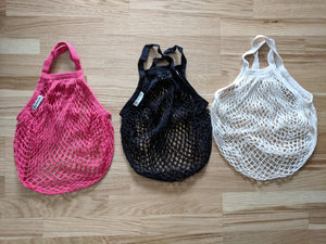 organic cotton string bags red black cream uk
