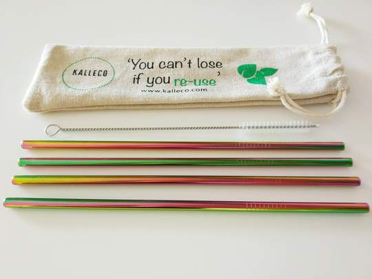 reusable straw set - rainbow